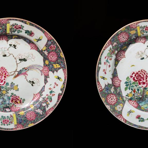 pair of chinese export porcelain famille rose chargers