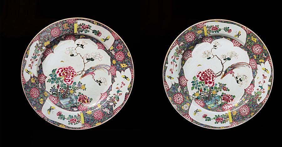 Pair of Massive Chinese export porcelain famille rose chargers