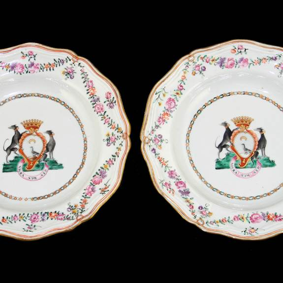 pair of chinese export armorial soup plates
