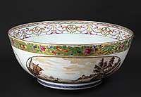 masive chinese export punchbowl for american market with view of new york