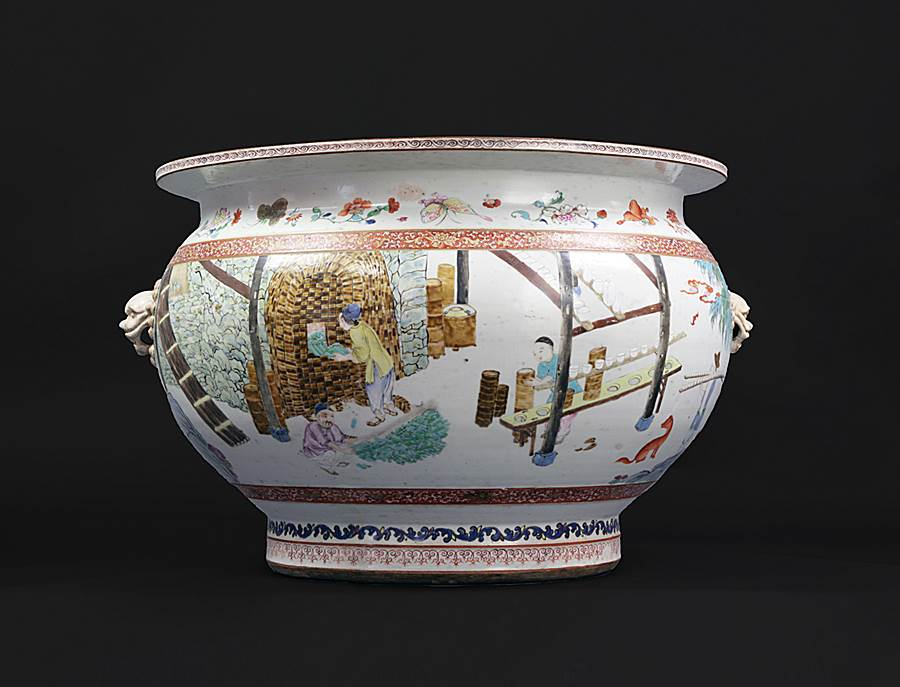 sold - chinese export porcelain 'making of porcelain' fishtank