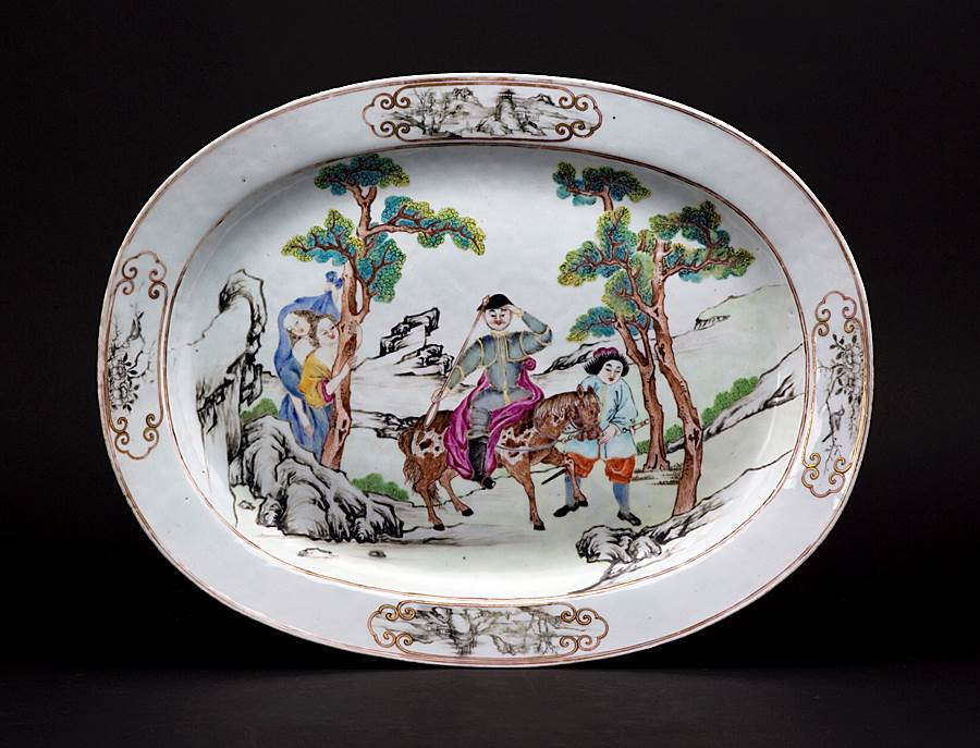 chinese export porcelain famille rose meatdish with Don Quixote scene