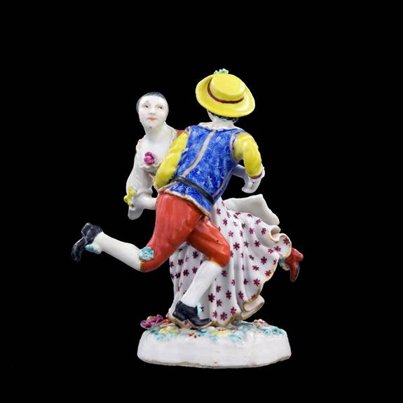 Chinese export porcelain figure group of two dancers