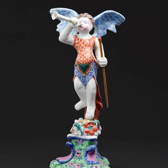 chinese export porcelain figure of the angel of fame, copying a delft original