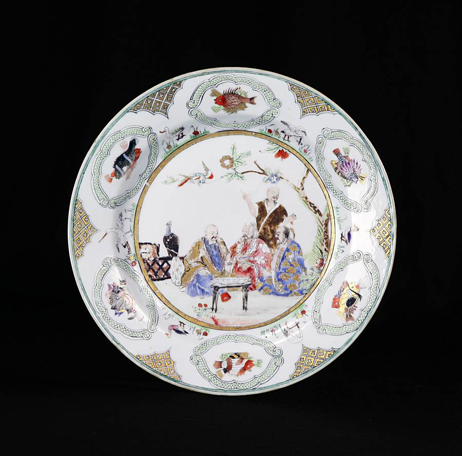 chinese export porcelain plate with the Pronk design, The Doctors' visit to the emperor