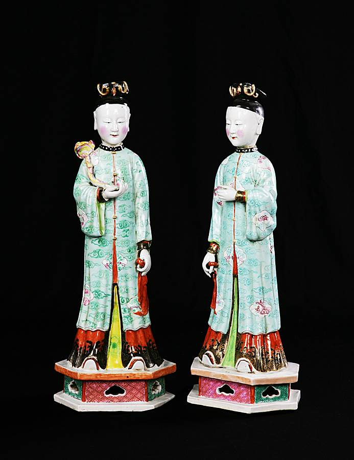 sold - pair of chinese export porcelain nodding head figures