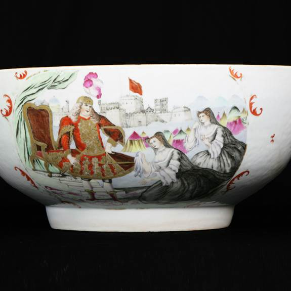 chinese export porcelain punchbowl with james quin as coriolanus