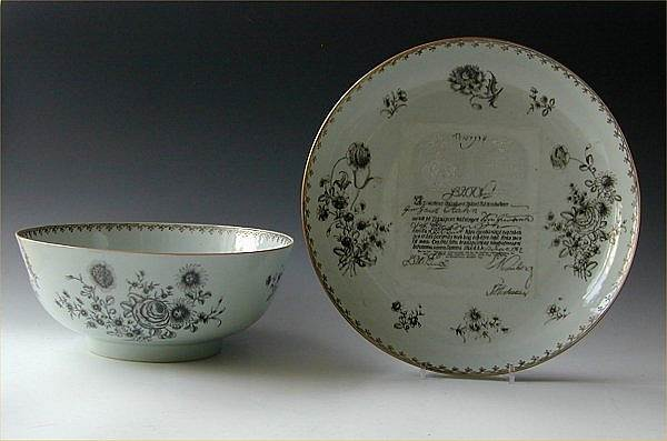 Chinese export porcelain Grisaille banknote bowl & stand