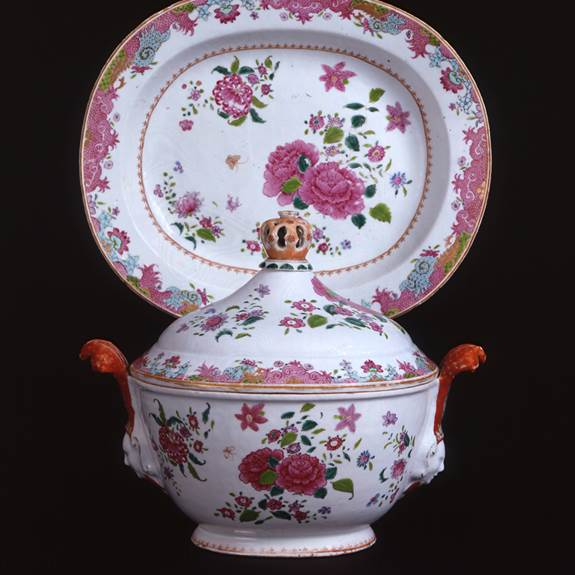Chinese export porcelain famille rose tureen, cover and stand with mask handles