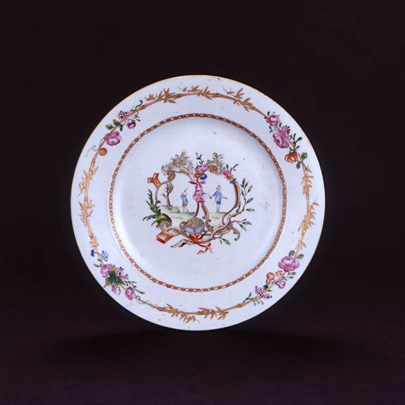 CHINESE EXPORT FAMILLE ROSE EUROPEAN SUBJECT PLATE