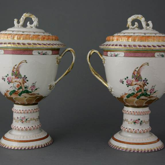 PAIR OF LOVING CUPS, COVERS & STANDS