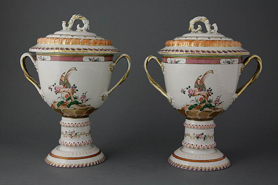 Pair of Chinese export porcelain famille rose loving cups and covers