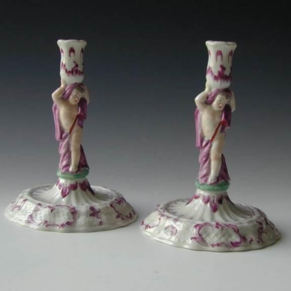 Pair European porcelain candlesticks circa 1770