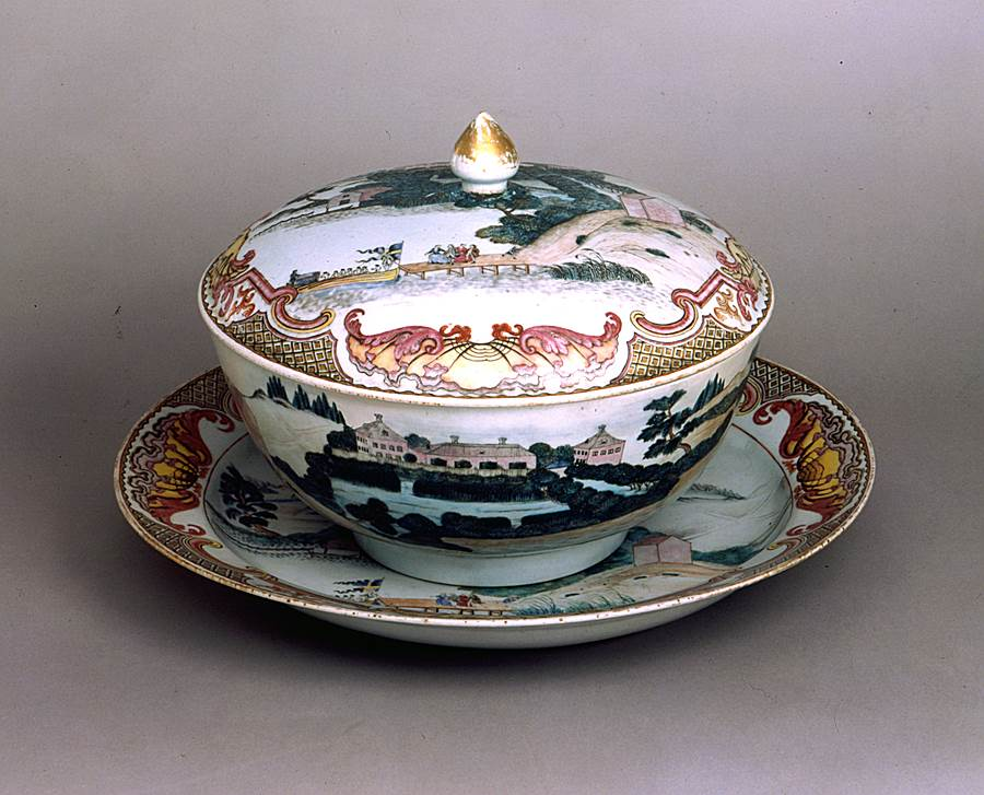 TOPOGRAPHICAL PUNCH BOWL WITH COVER AND STAND