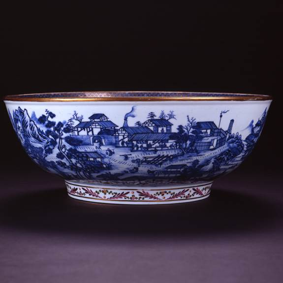 RARE PORCELAIN MANUFACTURE PUNCH BOWL