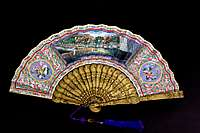 sold: chinese export topographical paper fan