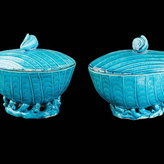 Pair of Chinese export porcelain Turquoise Glaze Tureens and covers