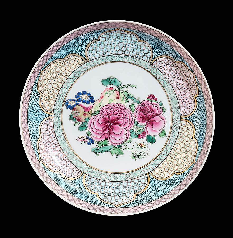 chinese eggshell porcelain famille rose ruby back saucer dish