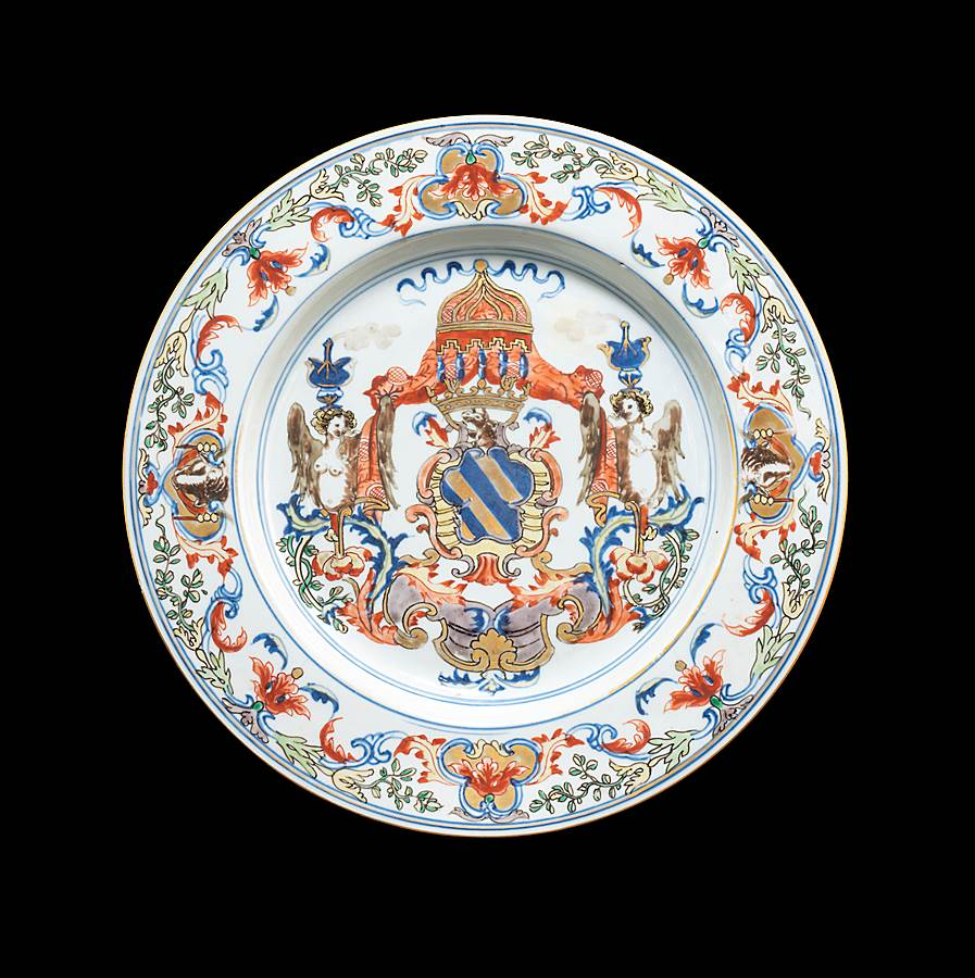 chinese export armorial large plate with the portuguese arms of ataide