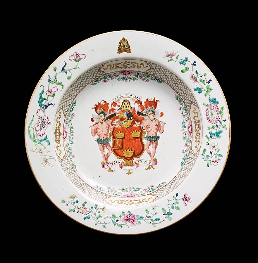 chinese export porcelain armorial basin, arms of grant