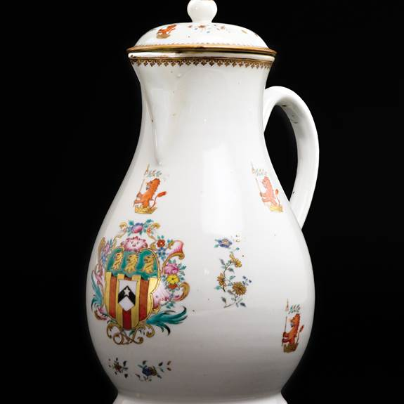 Chinese export porcelain armorial pitcher and cover, arms of Richardson
