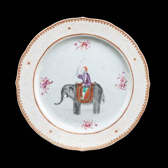 chinese export porcelain charger with elephant and mahout
