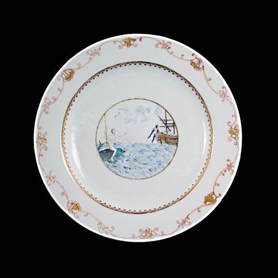 chinese export porcelain charger with european marine subject