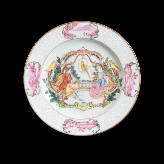chinese export porcelain dinner plate with european musicians