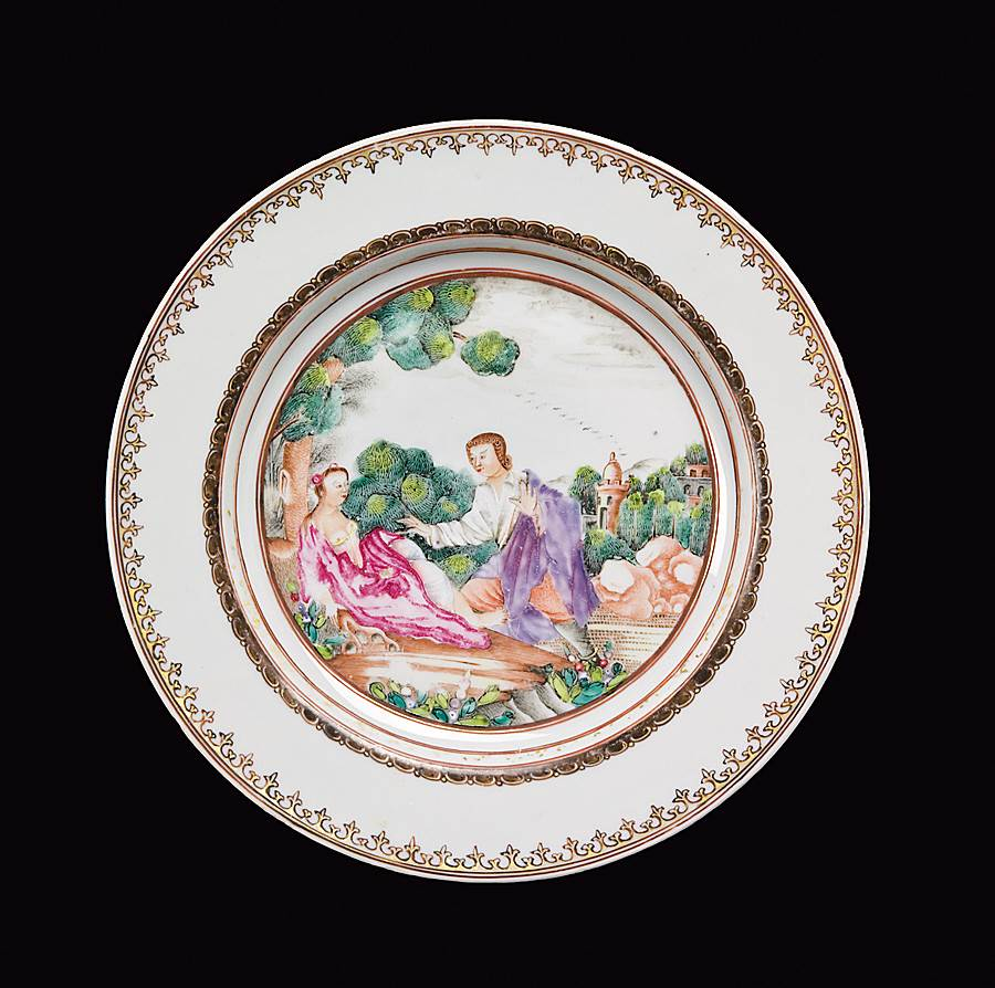 chinese export porcelain european subject plate