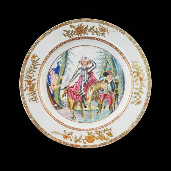 Chinese export porcelain famille rose charger with Don Quixote