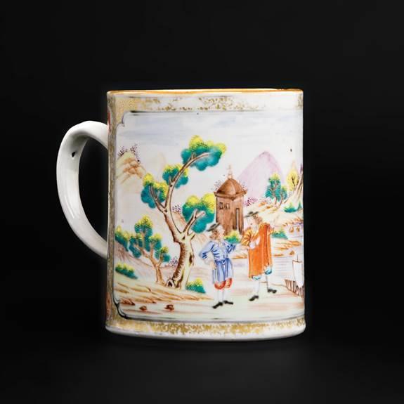 Chinese export porcelain famille rose mug, European subject