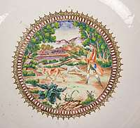 chinese export porcelain famille rose punchbowl with fox hunting scenes