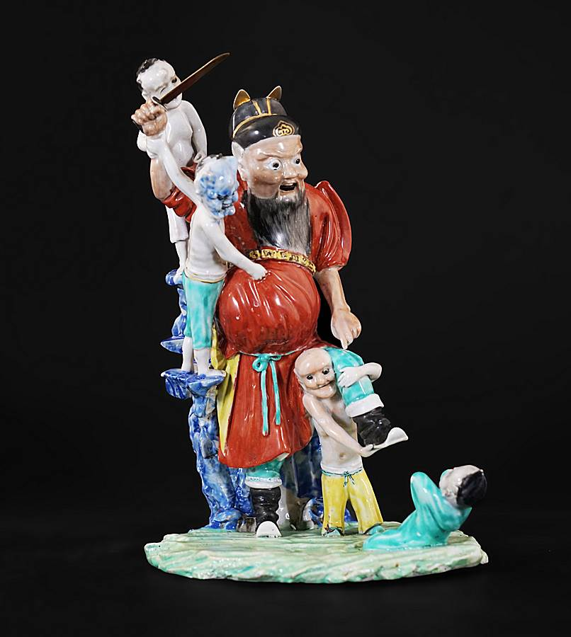 chinese export porcelain figure group of zhong kui and four demons
