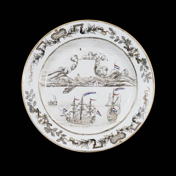 chinese export porcelain grisaille dinner plate, cape of good hope