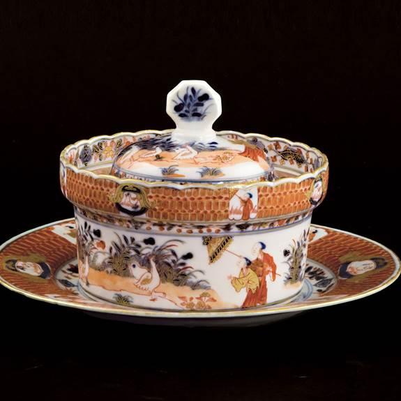 chinese export porcelain imari pronk Dame au Parasol butter cooler