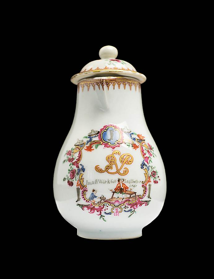 chinese export porcelain milk jug and cover, advertising label