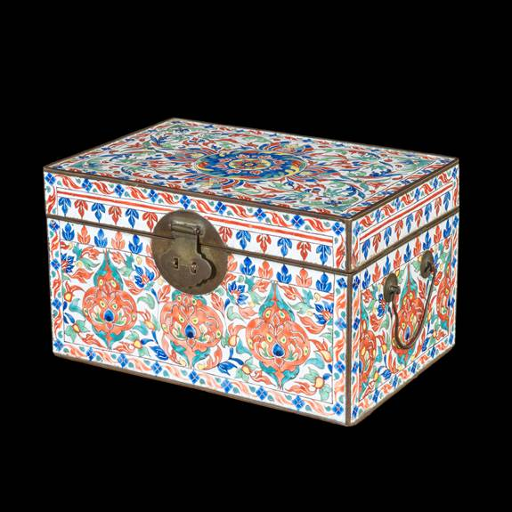 chinese painted enamel on copper box for the islamic market