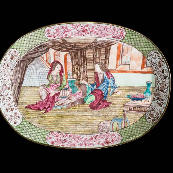 chinese painted enamel on copper dish with european subject