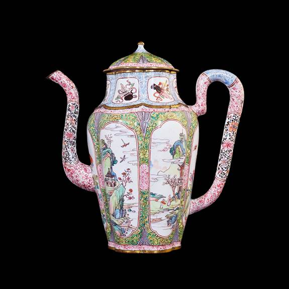 chinese painted enamel on copper teapot