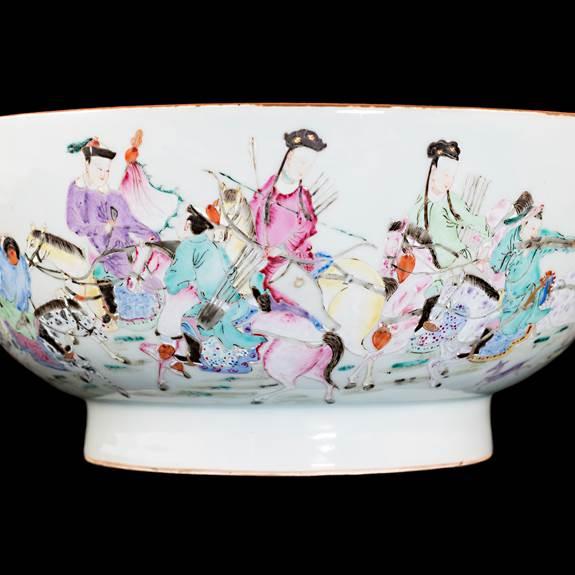 Chinese porcelain famille rose punchbowl