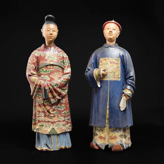 pair of chinese clay nodding head figures