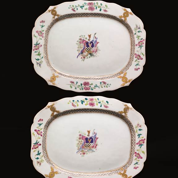 pair of chinese export armorial meat dishes