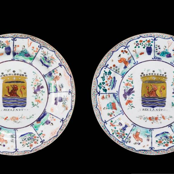 pair of chinese export porcelain famille verte armorial large plates