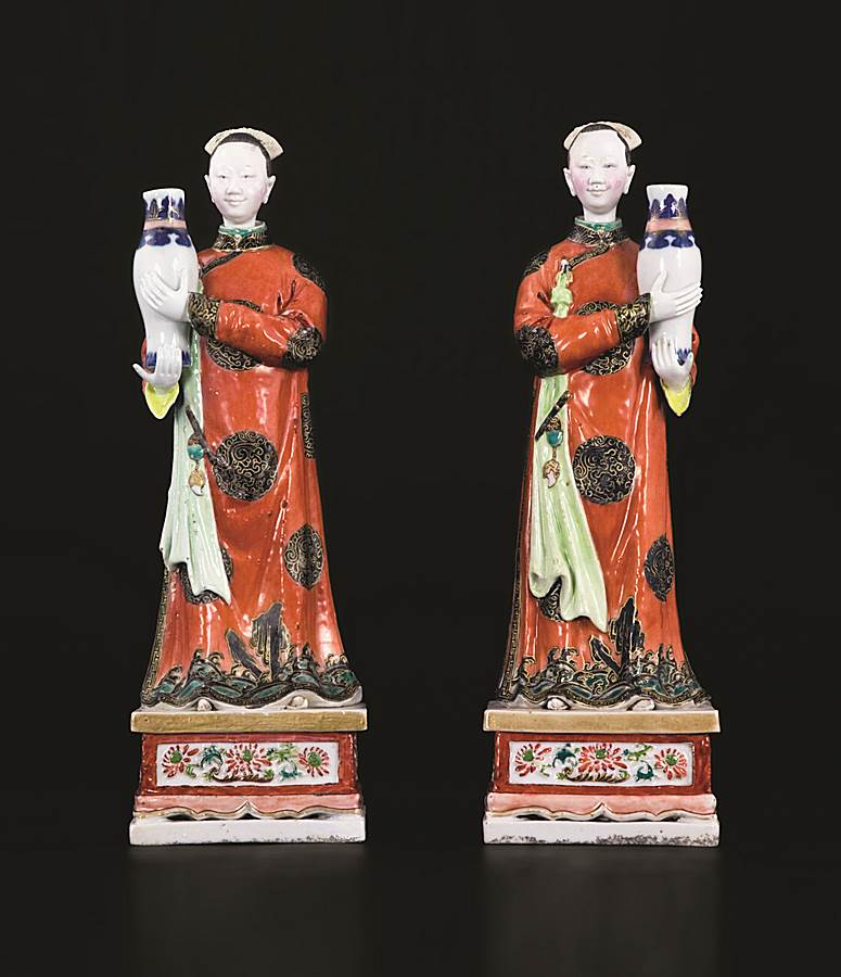 pair of chinese export porcelain nodding head famille rose figures