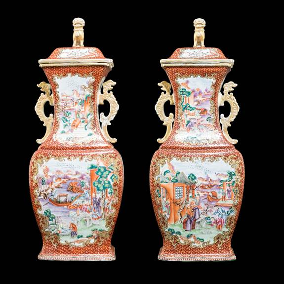 pair of chinese export porcelain vases with famille rose decoration