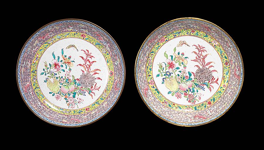 pair of chinese painted enamel saucer dishes, canton imperial workshop