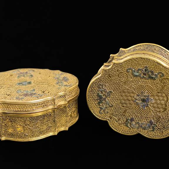 pair of chinese silver gilt filigree boxes