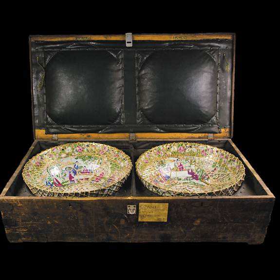 sold - pair of masonic punchbowls in original shipping crate