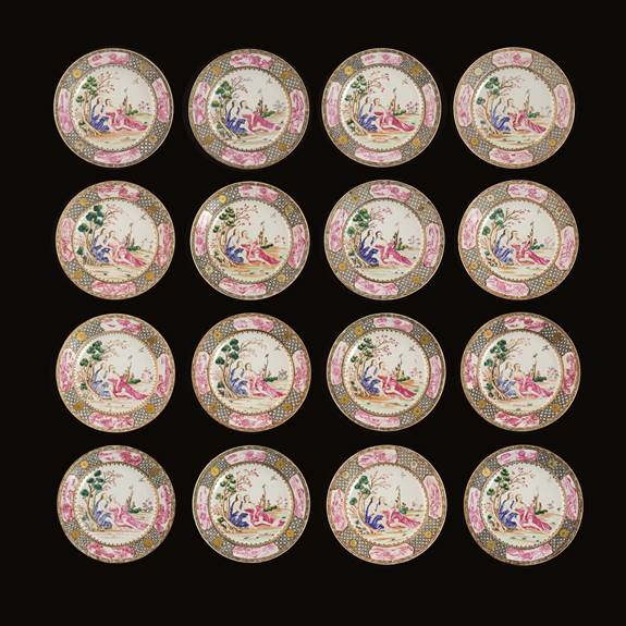 set of 16 chinese export porcelain famille rose dinner plates with european subject