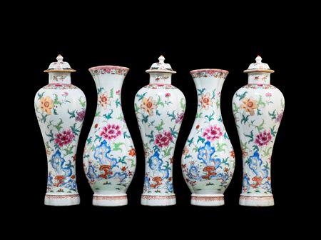 Chinese export porcelain famille rose Garniture